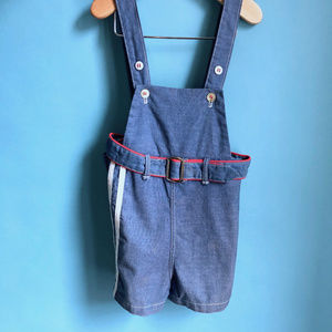Peter Piper Matching Sets - 1960s Cotton 2pc Toddler Overall Short Top Set 3T